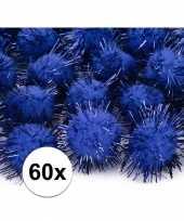 60x kobalt blauwe knutsel pompons 20 mm trend