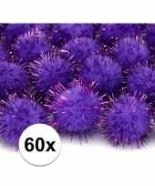 60x paarse knutsel pompons 20 mm trend