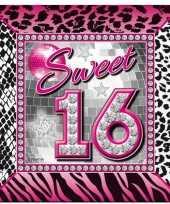 60x sweet 16 themafeest servetten 25 x 25 cm papier trend