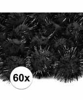 60x zwarte knutsel pompons 20 mm trend
