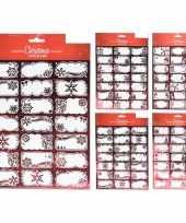 63x kerst cadeau naamstickers etiketten rood trend