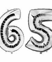 65 jaar zilveren folie ballonnen 88 cm leeftijd cijfer trend