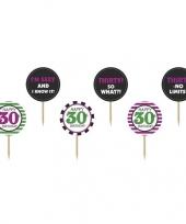 6x 30 jaar leeftijd versiering cocktailprikkers 9 cm trend