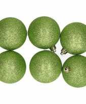 6x appelgroene glitter kerstballen 8 cm kunststof trend