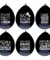 6x ballonnen zwart met drank quotes feest ballonnen trend
