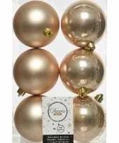 6x donker parel champagne kerstballen 8 cm kunststof mat glans trend