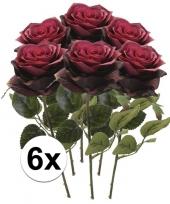 6x donker rode rozen simone kunstbloemen 45 cm trend
