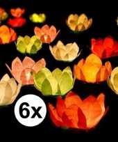 6x drijvende kaarsen lantaarns bloemen 29 cm gekleurd papier trend