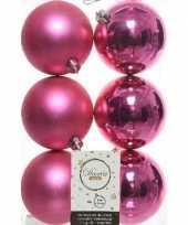 6x fuchsia roze kerstballen 8 cm kunststof mat glans trend