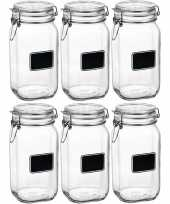 6x glazen snoeppotten krijt 1 5 l trend