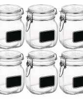 6x glazen snoeppotten krijt 750 ml trend