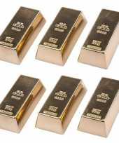 6x goudstaven magneet 6 cm trend