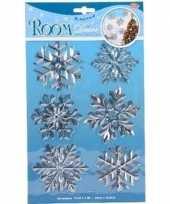 6x kerst decoratie raamstickers zilveren sneeuwvlokken trend