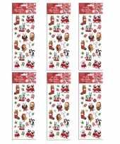 6x kerst stickervellen met 25 huisdieren stickers trend