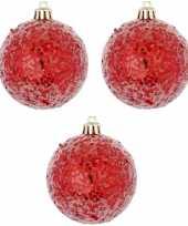 6x kerstballen glitter rood 8 cm kunststof trend
