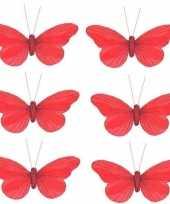 6x kerstboomversiering vlinders op clip rood 11 cm trend