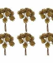 6x kerststukje instekers bosje van 12 gouden dennenappels op draad trend