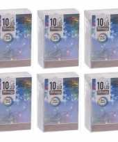 6x kerstverlichting op batterij gekleurd 10 lampjes trend