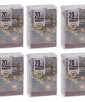 6x kerstverlichting op batterij warm wit 20 lampjes trend