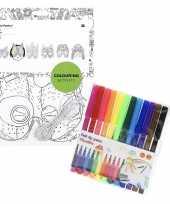 6x knutsel papieren maskers om in te kleuren incl stiften trend