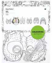 6x knutsel papieren maskers om in te kleuren voor kinderen trend