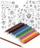 6x knutsel stickervellen om te kleuren incl potloden voor kids trend