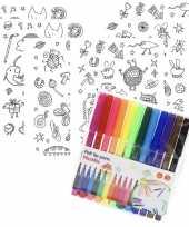 6x knutsel stickervellen om te kleuren incl stiften voor kids trend