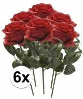 6x kunstbloem roos rood trend