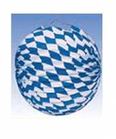 6x lampionnen decoratie blauw wit 25 cm trend