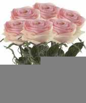 6x licht roze rozen simone kunstbloemen 45 cm trend