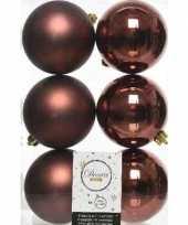 6x mahonie bruine kerstballen 8 cm kunststof mat glans trend