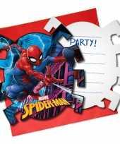 6x marvel spiderman themafeest uitnodigingen 7 cm trend