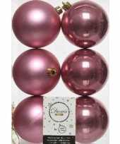 6x oud roze kerstballen 8 cm kunststof mat glans trend