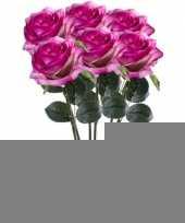 6x paars roze rozen simone kunstbloemen 45 cm trend