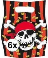 6x piraten themafeest feestzakjes uitdeelzakjes jolly roger trend