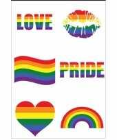 6x regenboog pride kleuren plak tattoos trend