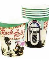 6x rock n roll bekertjes 250 ml trend