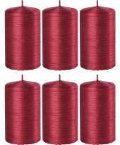 6x rode cilinderkaarsen stompkaarsen 6 x 10 cm 25 branduren trend