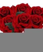 6x rode rozen deluxe kunstbloemen 31 cm trend