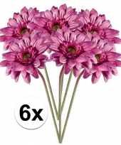 6x roze gerbera kunstbloemen 47 cm trend