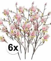 6x roze magnolia kunstbloemen tak 105 cm trend