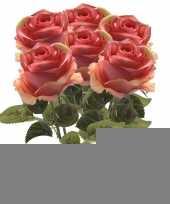 6x roze roos kunstbloem simone 45 cm trend