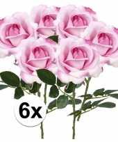 6x roze rozen carol kunstbloemen 37 cm trend