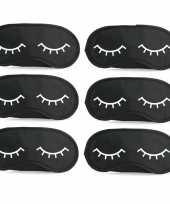 6x slaapmaskers met slapende oogjes zwart wit trend