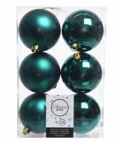 6x smaragd groene kerstversiering kerstballen kunststof 8 cm trend