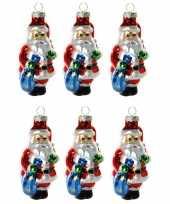 6x stuks kersthanger glazen kerstman met zak 8 cm kerstboomversiering trend