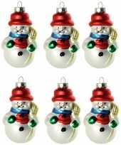 6x stuks kersthanger glazen sneeuwpop 8 cm kerstboomversiering trend