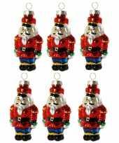 6x stuks kersthanger glazen soldaat 8 cm kerstboomversiering trend