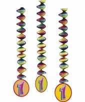 6x stuks rotorspiralen 1 jaar versiering feestartikelen trend