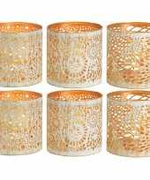 6x theelichthouders waxinelichthouders windlichten set metaal wit goud 11 cm trend